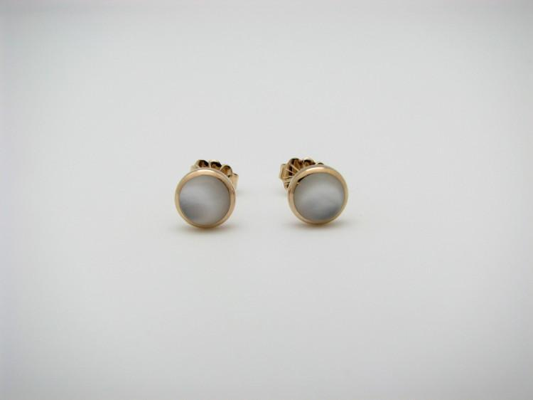 Kabana 14k Gold Stud Earrings with Inlay Mother of Pearl-Lema's Kokopelli Gallery