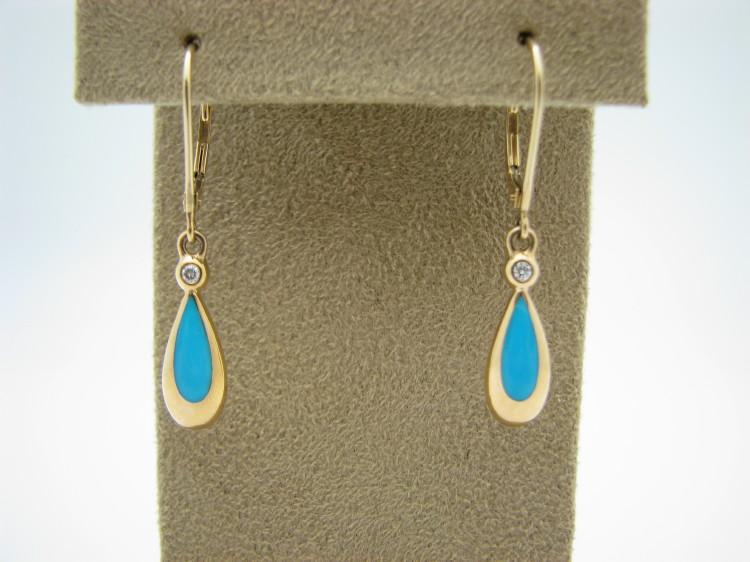 Kabana 14k Gold Teardrop Earrings with Inlay Sleeping Beauty Turquoise, 1 Diamond-Lema's Kokopelli Gallery