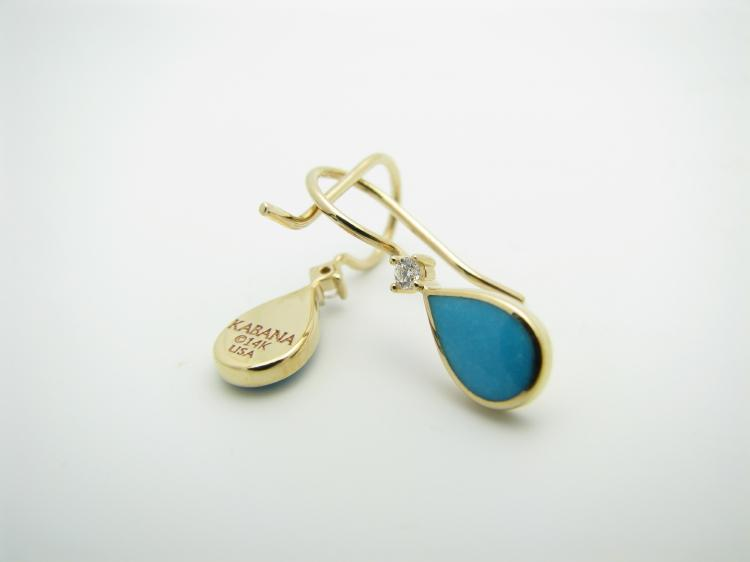 Kabana 14k Gold Teardrop Earrings with Inlay Sleeping Beauty Turquoise, 2 Diamonds-Lema's Kokopelli Gallery