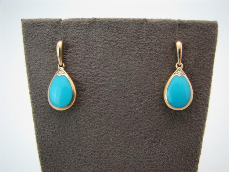 Kabana 14k Gold Teardrop Earrings with Inlay Sleeping Beauty Turquoise and 2 Diamonds-Lema's Kokopelli Gallery