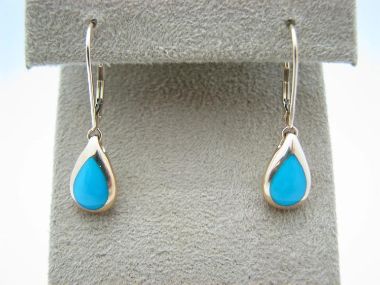 Kabana 14k Gold Teardrop Earrings with Inlay Sleeping Beauty Turquoise-Lema's Kokopelli Gallery