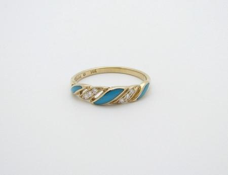 Kabana 14k Gold Turquoise Diamond Ring-Lema's Kokopelli Gallery