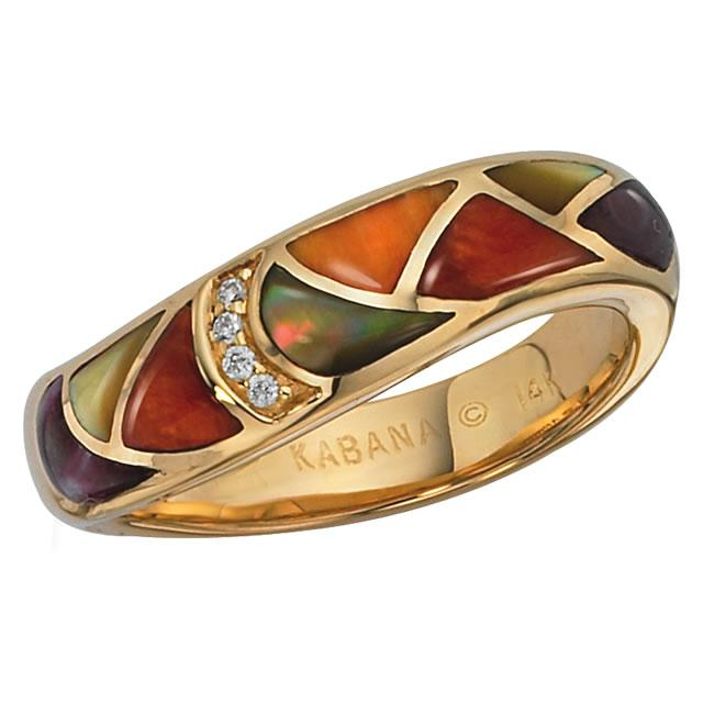 Kabana 14k Multistone Spiny Oyster Gold Ring-Lema's Kokopelli Gallery