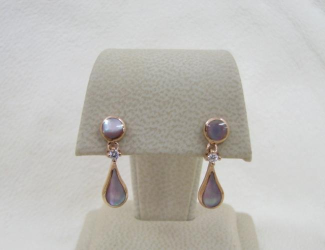 Kabana 14k Rose Gold Earrings with Inlay Pink Mother of Pearl, 2 Diamonds-Lema's Kokopelli Gallery