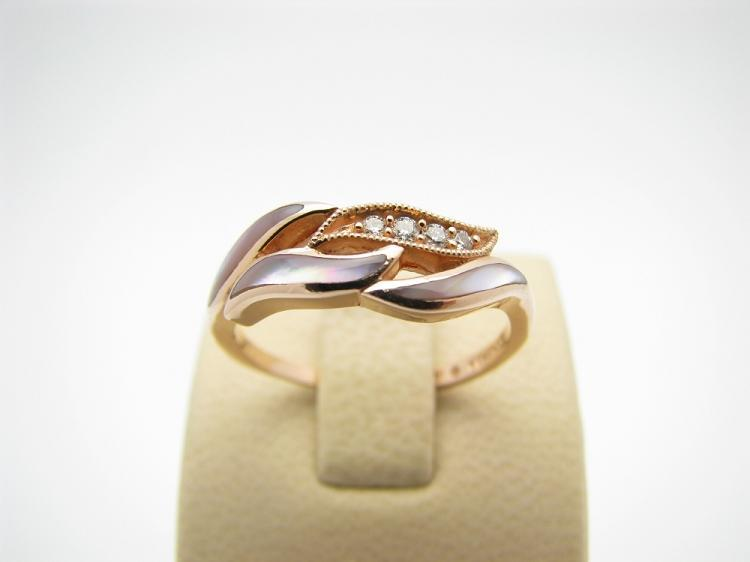 Kabana 14k Rose Gold Ring with Inlay Pink Mother of Pearl and Four Diamonds-Lema's Kokopelli Gallery