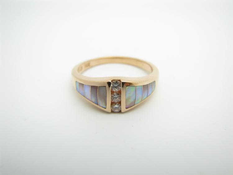 Kabana 14k Rose Gold Ring with Inlay Pink Mother of Pearl and Three Diamonds-Lema's Kokopelli Gallery