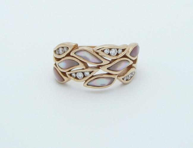 Kabana 14k Rose Gold Ring with Inlay Pink Mother of Pearl and Twelve Diamonds-Lema's Kokopelli Gallery