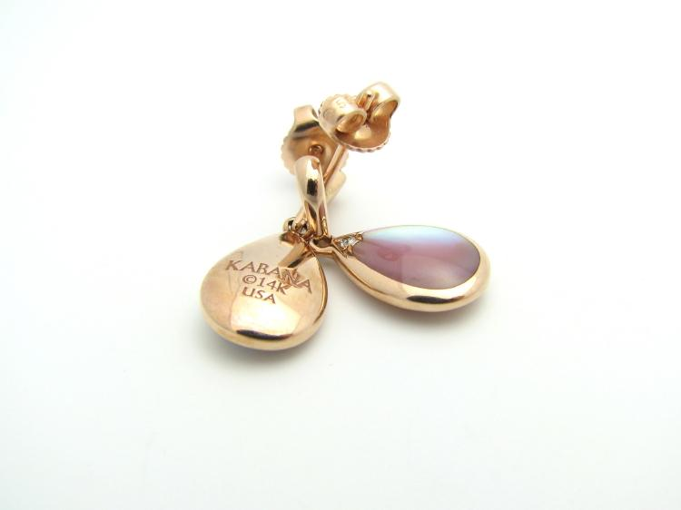Kabana 14K Rose Gold Teardrop Earrings with Pink Mother of Pearl, 2 Diamonds-Lema's Kokopelli Gallery