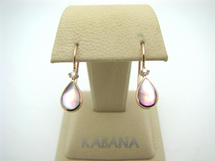 Kabana 14k Rose Gold Teardrop Earrings with Pink Mother of Pearl Inlay and Two Diamonds-Lema's Kokopelli Gallery