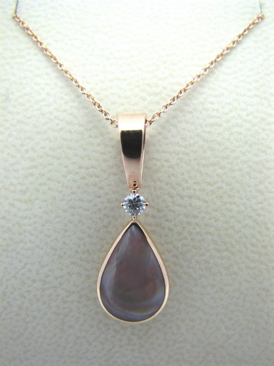Kabana 14k Rose Gold Teardrop Pendant with Inlay Pink Mother of Pearl-Lema's Kokopelli Gallery