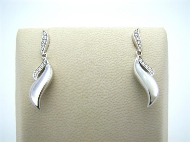 Kabana 14k White Gold Earrings with Inlay Mother of Pearl and 20 Diamonds-Lema's Kokopelli Gallery