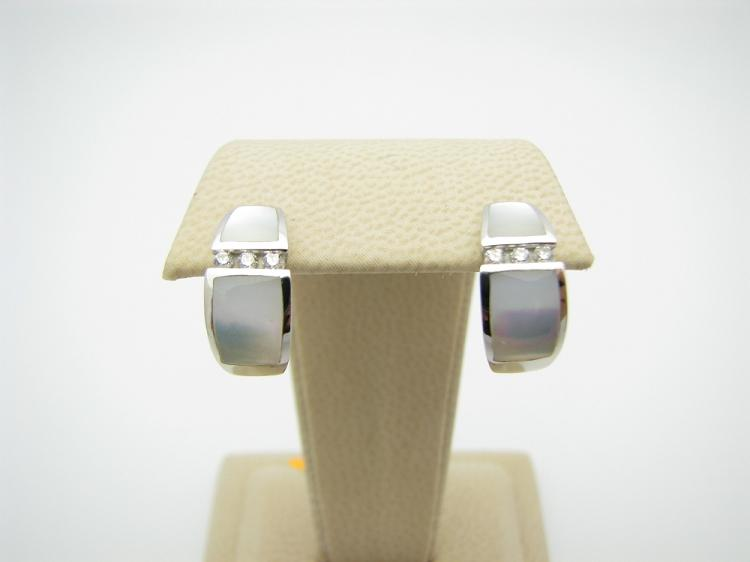 Kabana 14k White Gold Earrings with Inlay Mother of Pearl and Six Diamonds-Lema's Kokopelli Gallery