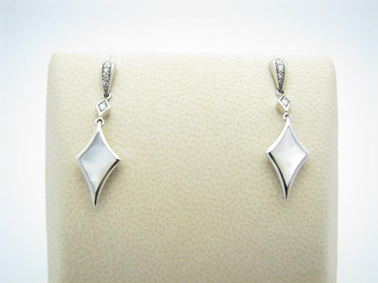 Kabana 14k White Gold Earrings with Inlay Mother of Pearl and Ten Diamonds-Lema's Kokopelli Gallery