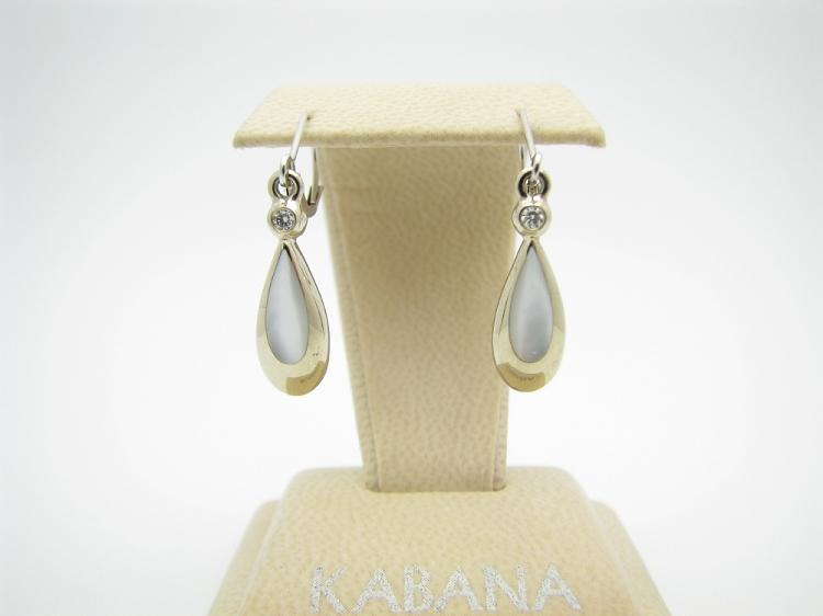 Kabana 14k White Gold Earrings with Inlay Mother of Pearl and Two Diamonds-Lema's Kokopelli Gallery
