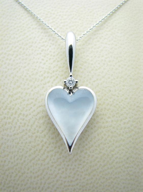 Kabana 14k White Gold Heart Pendant with Inlay Mother of Pearl-Lema's Kokopelli Gallery