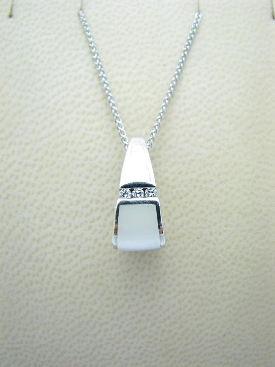 Kabana 14k White Gold Pendant with Inlay Mother of Pearl, 3 Diamonds-Lema's Kokopelli Gallery