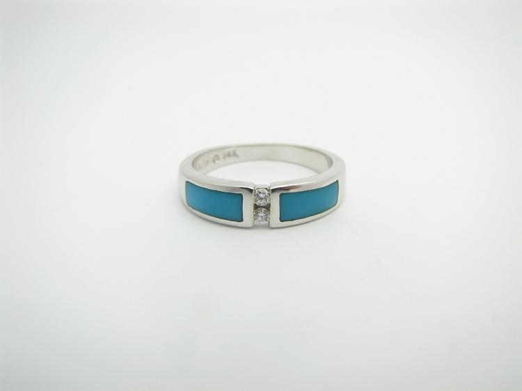 Kabana 14k White Gold Ring with Inlay Turquoise and Two Diamonds-Lema's Kokopelli Gallery