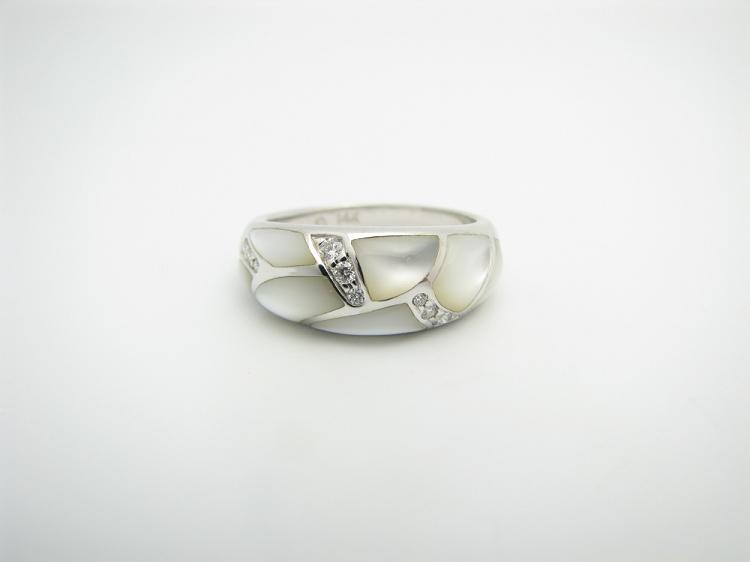 Kabana 14k White Gold Ring with Inlay White Mother of Pearl and Nine Diamonds-Lema's Kokopelli Gallery
