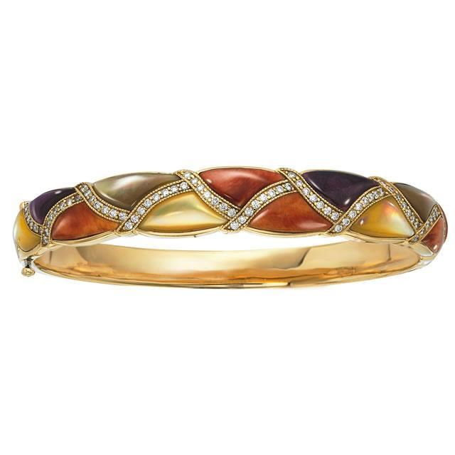 Kabana 14K Yellow Gold Bracelet with Inlay Multicolor Spiny Oyster, Mother of Pearl-Lema's Kokopelli Gallery