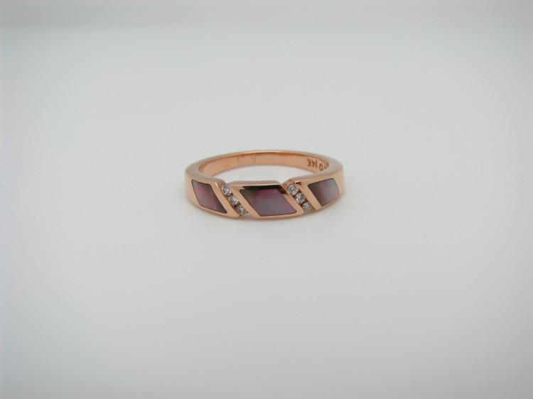 Kabana Rose Gold Ring with Pink Mother of Pearl-Lema's Kokopelli Gallery