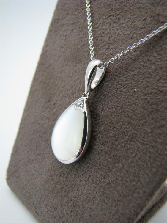 Kabana White Gold Pendant with Inlay Mother of Pearl-Lema's Kokopelli Gallery