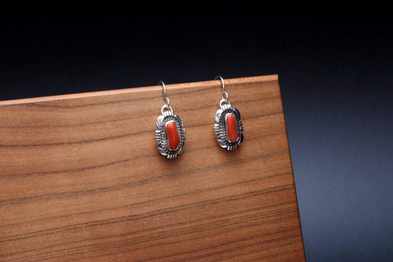 Navajo Abstract Red Coral Earrings-Lema's Kokopelli Gallery