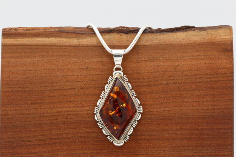 Navajo Amber Diamond Shaped Pendant-Lema's Kokopelli Gallery
