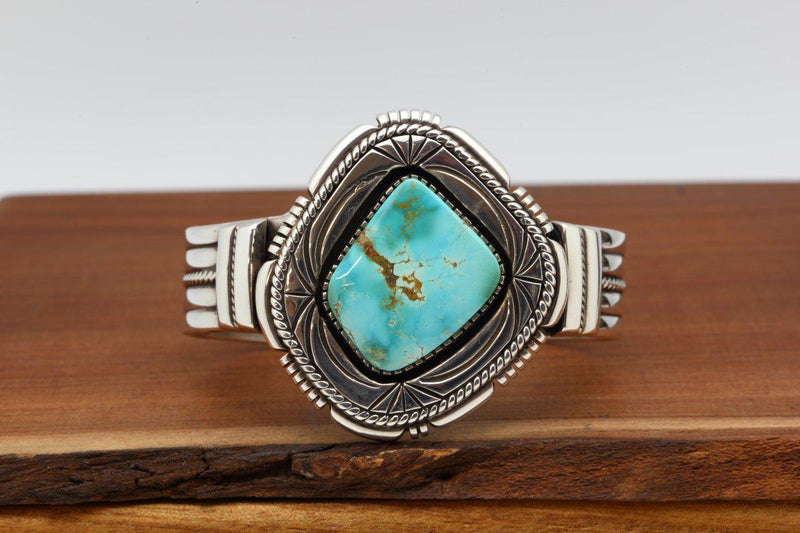 Navajo Blue Gem Turquoise Abstract Bracelet-Lema's Kokopelli Gallery