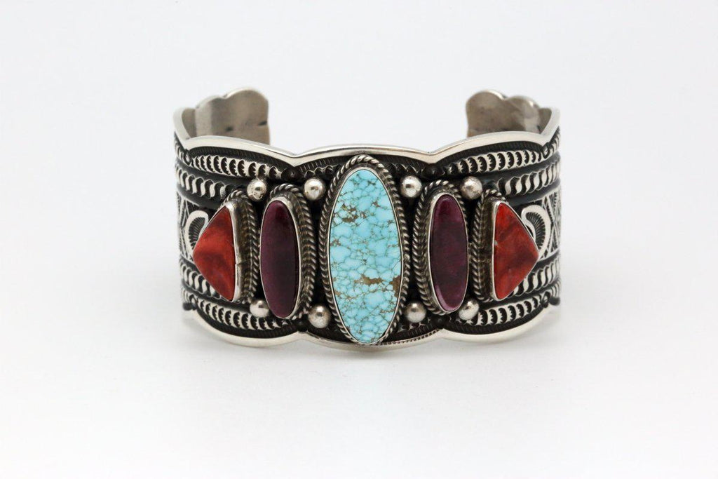 Navajo Bracelet with Number Eight Spiderweb Turquoise & Spiny Oyster Shell-Lema's Kokopelli Gallery