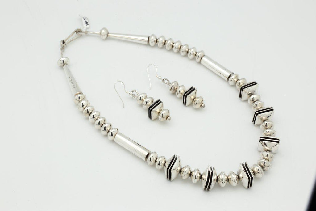 Navajo Contemporary Silver Necklace Earring Set-Lema's Kokopelli Gallery