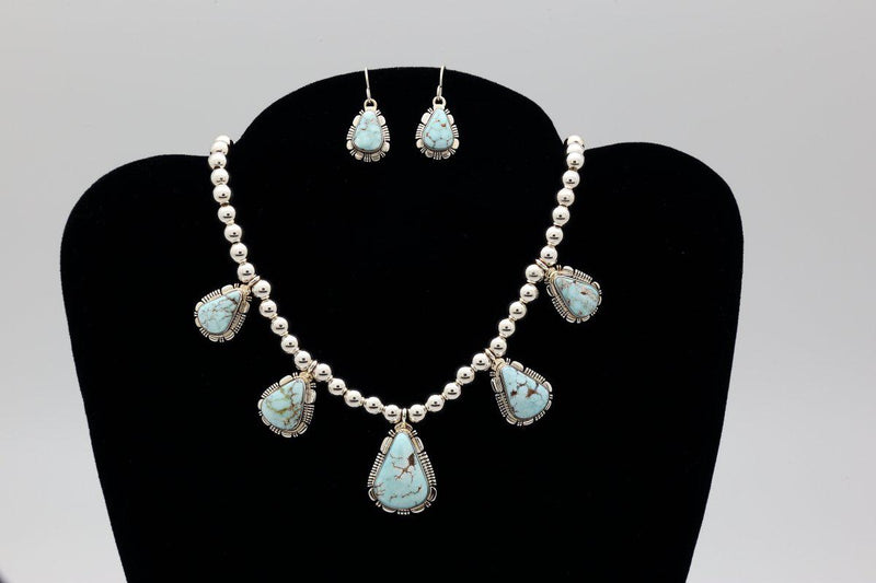 Navajo Necklace & Earring Set with Dry Creek Turquoise-Lema's Kokopelli Gallery