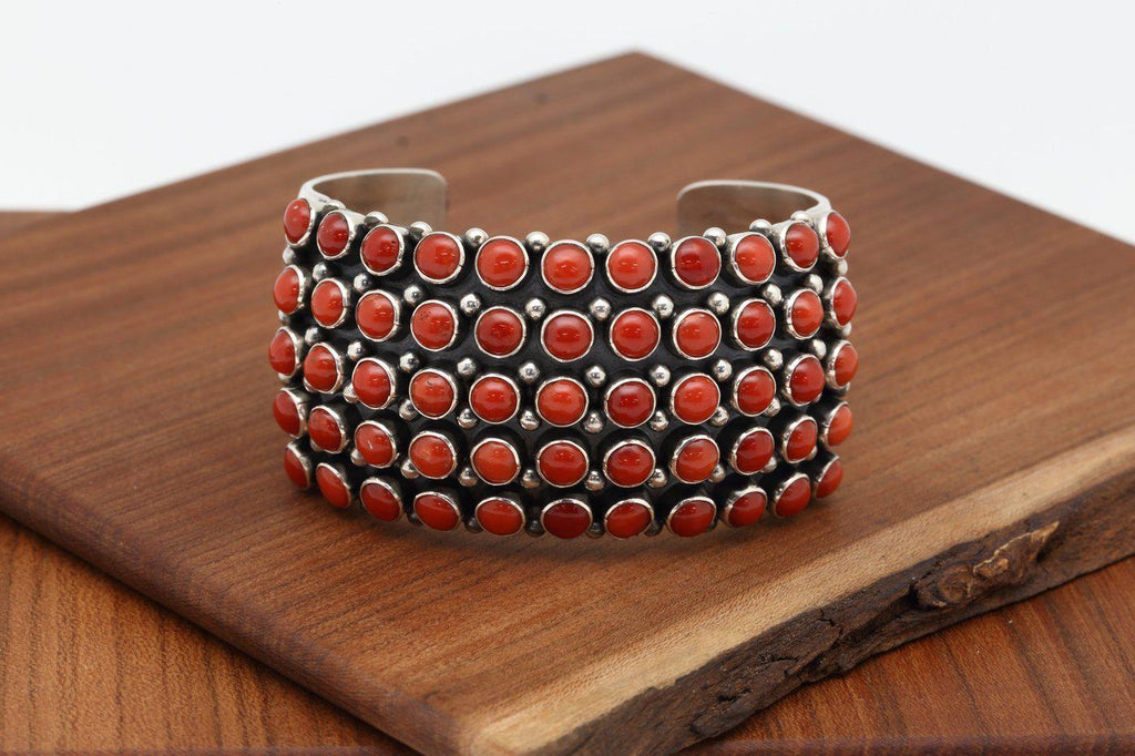 Navajo Fifty Five Stone Red Coral Bracelet-Lema's Kokopelli Gallery