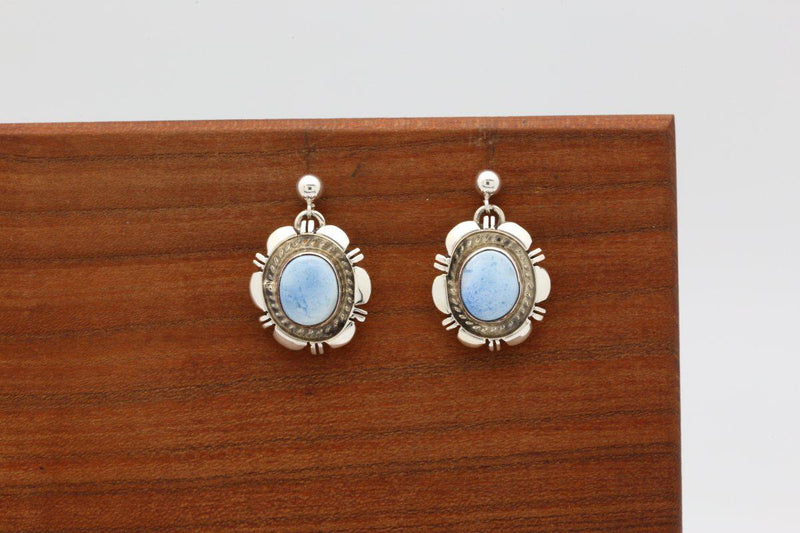 Navajo Golden Hill Turquoise Dangle Earrings-Lema's Kokopelli Gallery