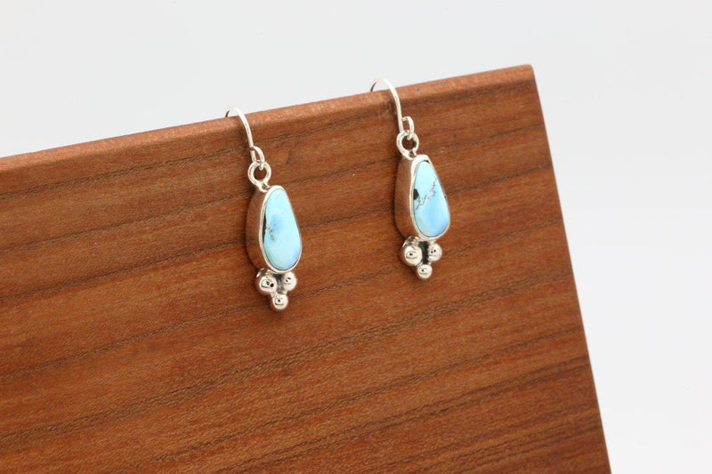 Navajo Golden Hill Turquoise Earrings-Lema's Kokopelli Gallery