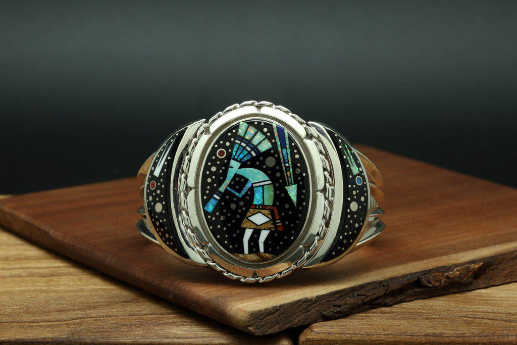 Navajo Inlay Kokopelli Night Sky Bracelet-Lema's Kokopelli Gallery