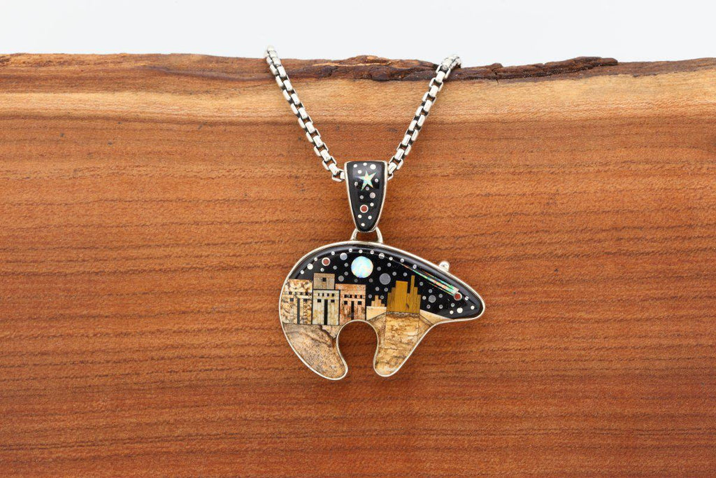 Navajo Inlay Pictorial Night Sky Reversible Bear Pendant-Lema's Kokopelli Gallery