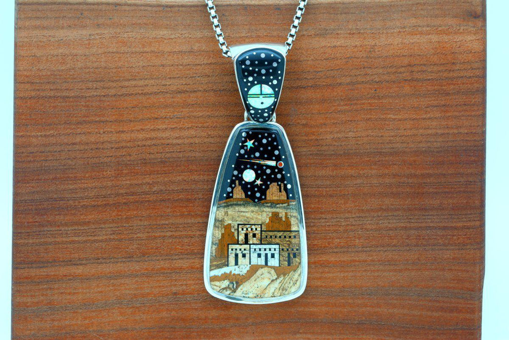Navajo Inlay Pictorial Night Sky Reversible Pendant-Lema's Kokopelli Gallery