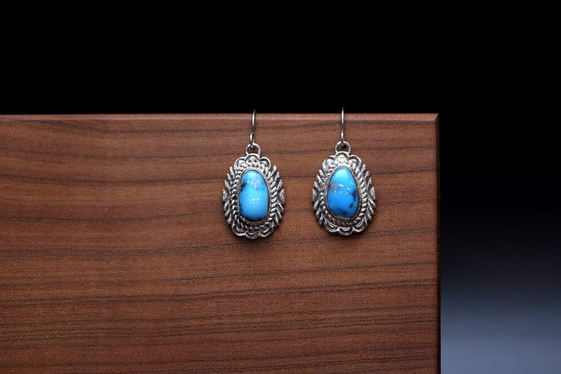Navajo Ithaca Peak Turquoise Earrings-Lema's Kokopelli Gallery