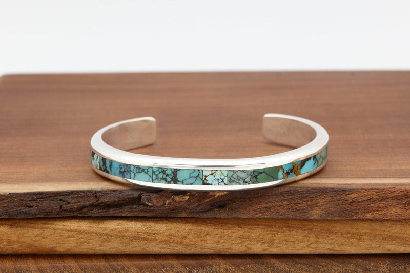 Navajo Kingman Turquoise Contemporary Inlay Bracelet-Lema's Kokopelli Gallery