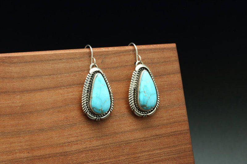 Navajo Kingman Turquoise Earrings-Lema's Kokopelli Gallery