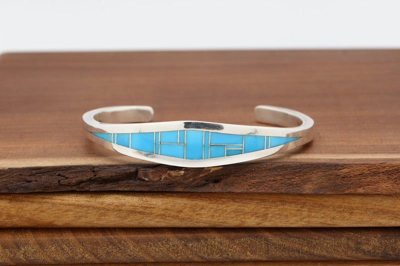 Navajo Kingman Turquoise Inlay Tapered Bracelet-Lema's Kokopelli Gallery