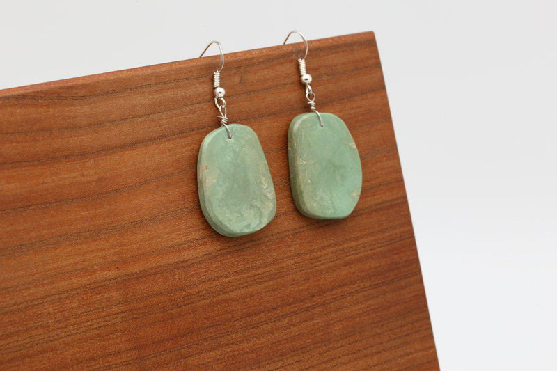 Navajo Kingman Turquoise Slab Earrings-Lema's Kokopelli Gallery