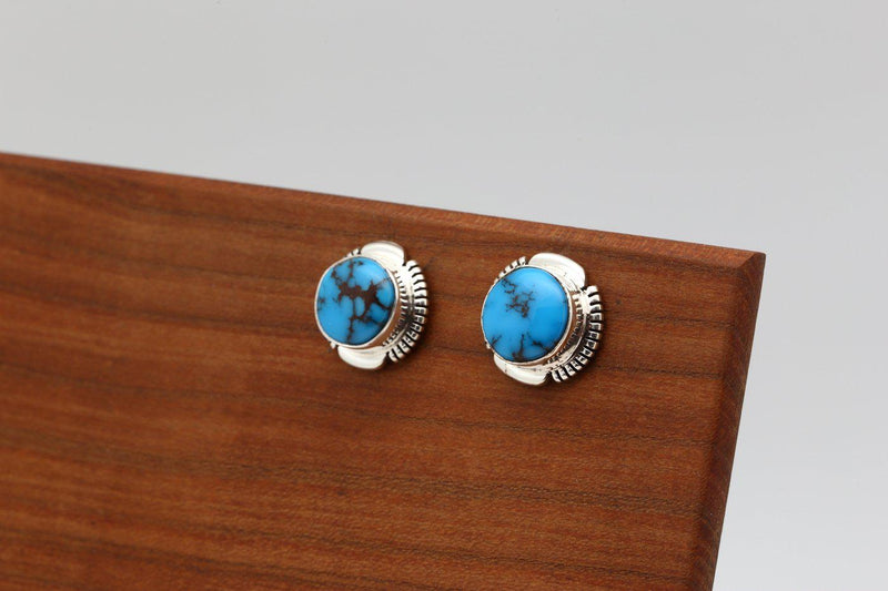 Navajo Kingman Turquoise Stud Earrings-Lema's Kokopelli Gallery