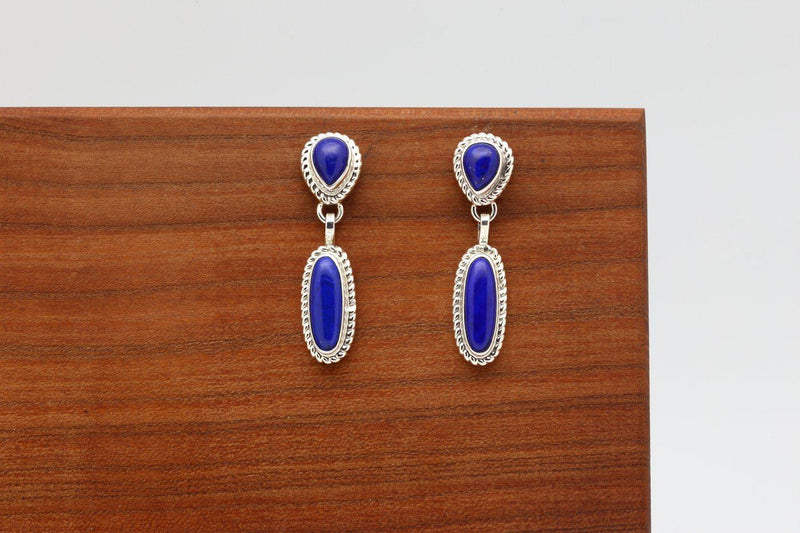 Navajo Lapis Double Stone Dangle Earrings-Lema's Kokopelli Gallery