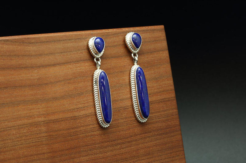 Navajo Lapis Double Stone Earrings-Lema's Kokopelli Gallery