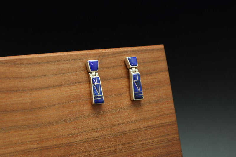 Navajo Lapis Inlay Earrings-Lema's Kokopelli Gallery