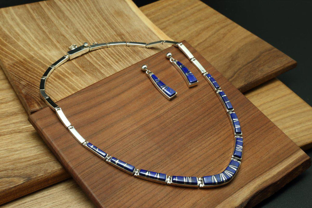 Navajo Lapis Inlay Necklace and Earring Set-Lema's Kokopelli Gallery