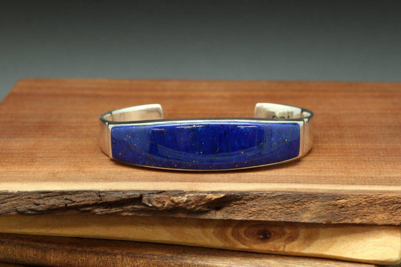 Navajo Lapis Inlay Tapered Bracelet-Lema's Kokopelli Gallery