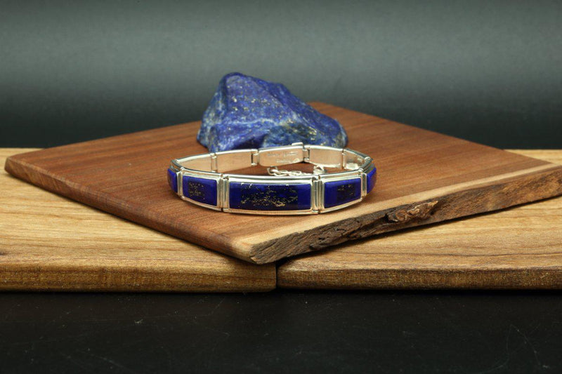 Navajo Lapis Inlay Tapered Link Bracelet-Lema's Kokopelli Gallery