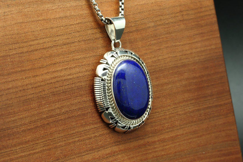 Navajo Lapis Medium Sized Pendant-Lema's Kokopelli Gallery